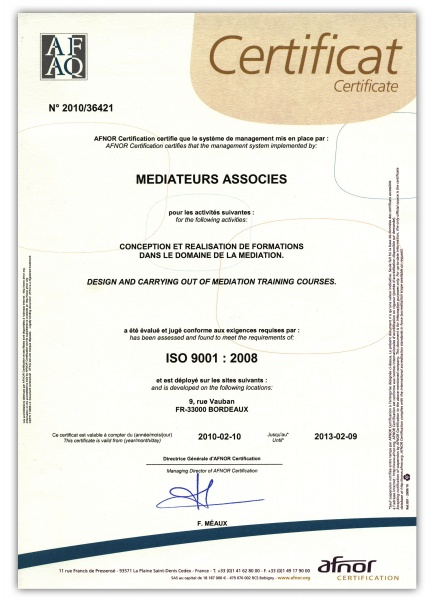 Fichier:Certification ISO 9001 Médiateurs Associés.jpg